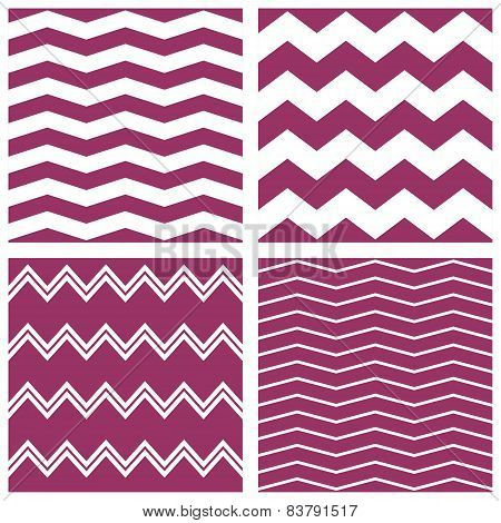 Tile vector pattern set with white and violet zig zag background