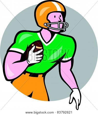 American Football Player Rusher Circle Retro