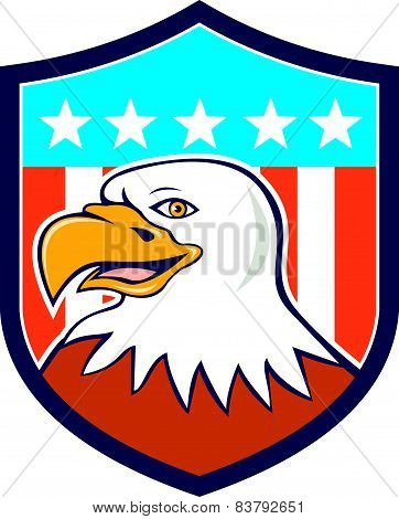 American Bald Eagle Head Smiling Flag Cartoon