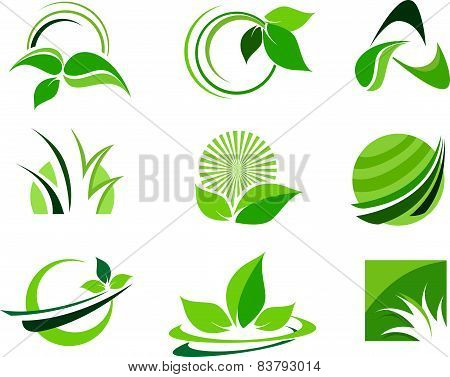 Green Leafs Design Elements