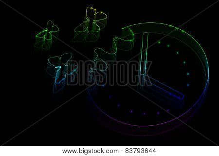 Neon Butterflies Fly Out Of A Wall Clock