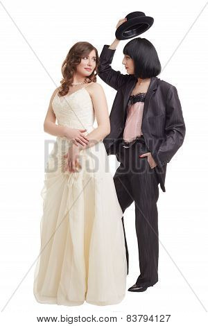 Lesbian wedding. Elegant models in bridal suits