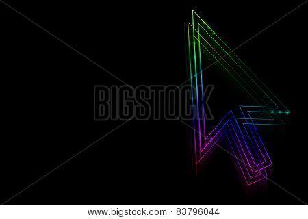 Neon Arrow On A Black Background