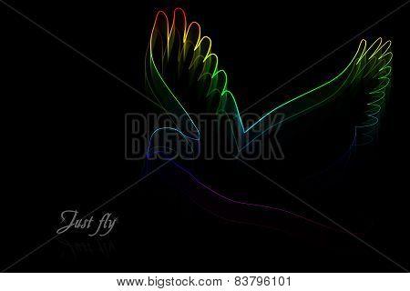 Neon Bird On A Black Background