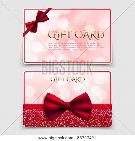 Gift Cards With Red Bow And Glitter. Vector Illustration. Voucher, Certificate