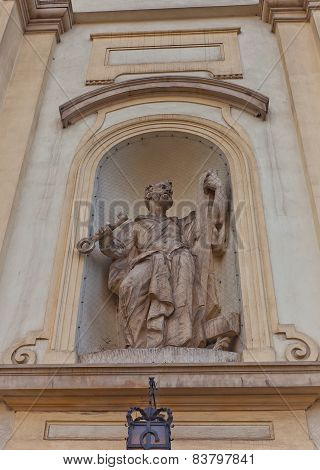 Statue Of St Peter Of Holy Cross Church In Warsaw, Poland