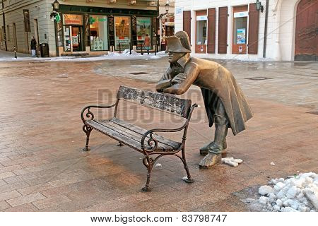 Bench With Bronze Sculpture Of Napoleon, Bratislava, Slovakia