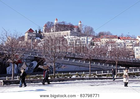 City View With Bratislava Castle On The Hill