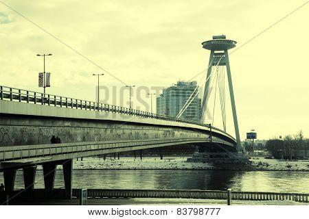 Novy Most Bridge Across The Danube River In Bratislava, Slovakia