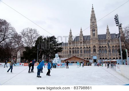 Town Hall And Skating Rink,vienna, Austria.