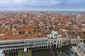 picture of flood  - The flooded Piazza San Marco and Venice roofs in Venice Veneto Italy - JPG