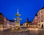 pic of copenhagen  - Amagertorv Square and Stork Fountain in the Old Town of Copenhagen Denmark - JPG