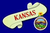 image of kansas  - A scroll with the text Kansas over Kansas state flag icon - JPG