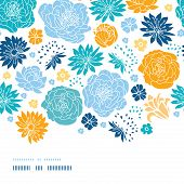 stock photo of blue rose  - Vector blue and yellow flowersilhouettes horizontal decor seamless pattern background on dark blue - JPG