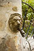 stock photo of metal sculpture  - Bronze metal lion head spout in an antique public fountain in Gigondas vaucluse France - JPG