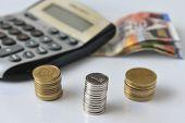 stock photo of shekel  - Calculator with Israeli hundred - JPG