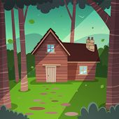 pic of wooden shack  - Cartoon illustration of the summer forest landscape with wooden cabin - JPG
