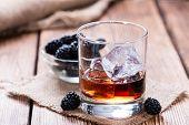 stock photo of blackberries  - Blackberry Liqueur shot  - JPG