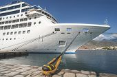 stock photo of cruise ship caribbean  - Big white cruise ship. Synny day. Greece