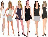 Posing women -   illustration