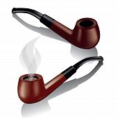 image of tobacco-pipe  - Tobacco pipes isolated on white - JPG