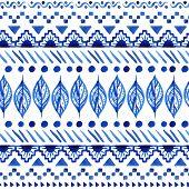 image of aztec  - Watercolor ethnic seamless pattern - JPG