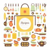 picture of kitchen utensils  - Set of kitchen utensils and food isolated objects - JPG