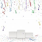 stock photo of confetti  - Celebration background template with pedestal - JPG