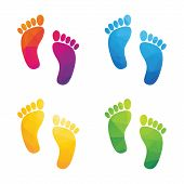 image of footprint  - colorful human footprints composed of a triangle isolated on a white background - JPG