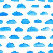 foto of pattern  - Watercolor modern pattern with clouds - JPG