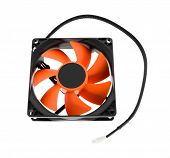 stock photo of cpu  - hardware cpu cooler red fan on white - JPG