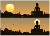 stock photo of buddha  - Buddha statue in the jungle at sunset - JPG