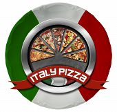 picture of italian flag  - Metal icon or symbol with pizza slices on plate colored with the colors of Italian flag - JPG