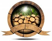 pic of cutting trees  - Wooden icon with trunks of trees cut and green forest with sun rays empty wooden ribbon for text - JPG
