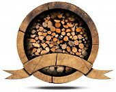 picture of firewood  - Wooden icon with dry cut firewood logs in a pile inside empty wooden ribbon for text - JPG