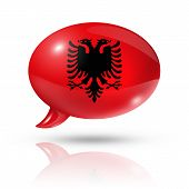 stock photo of albania  - three dimensional Albania flag in a speech bubble isolated on white with clipping path - JPG
