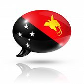 picture of papua new guinea  - three dimensional Papua New Guinea flag in a speech bubble isolated on white with clipping path - JPG