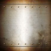 stock photo of plating  - Rusty steel riveted brushed plate background texture - JPG