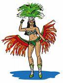 picture of brazilian carnival  - color illustration Brazilian in carnival costume on a white background - JPG