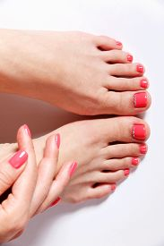 picture of painted toes  - Beautiful elegant nail polished nails and toes - JPG