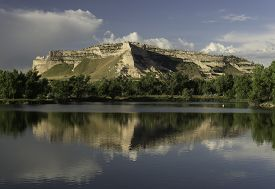 foto of western nebraska  - Scotts Bluff National Monument from the northern side next to the North Platte River - JPG