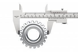 stock photo of vernier-caliper  - Metal Vernier Caliper with Gear Wheel on a white background - JPG