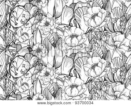 Vector Seamless Pattern With Graphic Spring Flowers (tulips) In Vintage Style