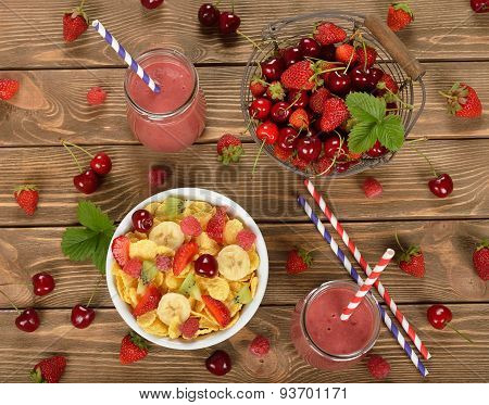 Smoothies, Cereals And Fruit