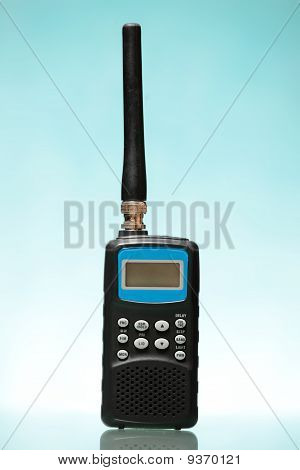 Radio Scanner Over Blue Background