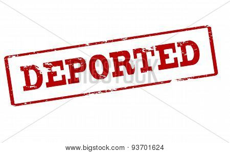 Rubber stamp with word deported inside vector illustration