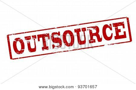 Rubber stamp with word outsource inside vector illustration