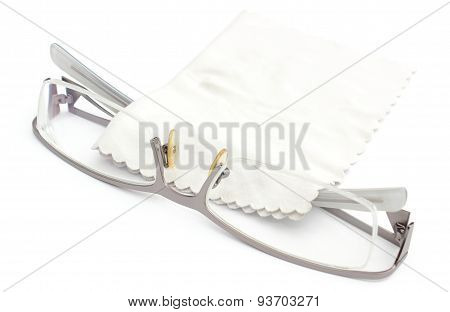 Spectacles And Cleaning Cloth On A White Background