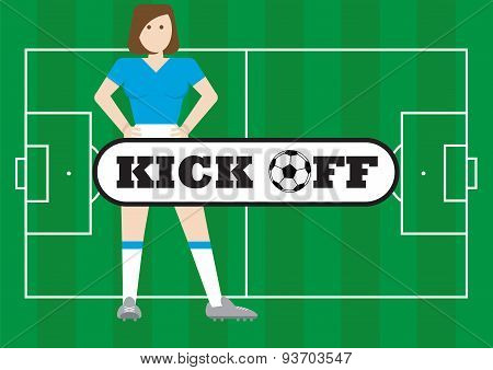 Women With Soccer Field Kick Off Concept