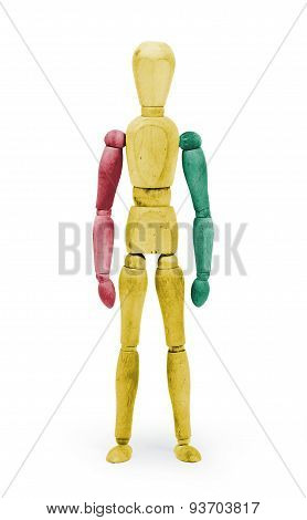 Wood Figure Mannequin With Flag Bodypaint - Guinea
